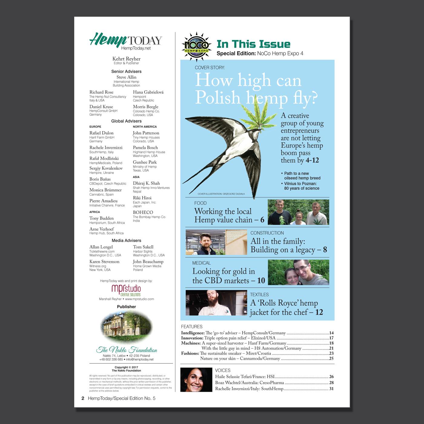 NoCo Hemp Expo 4 print magazine table of contents