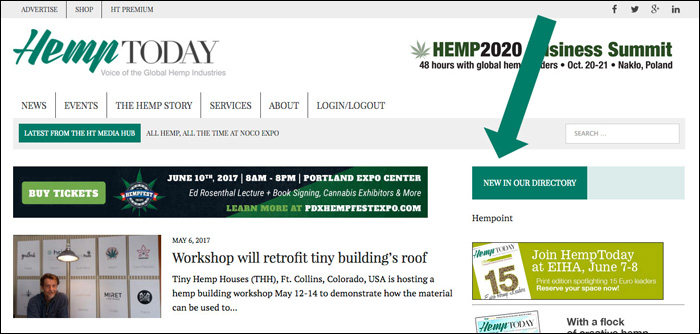 New listing text link on sidebar of HempToday homepage