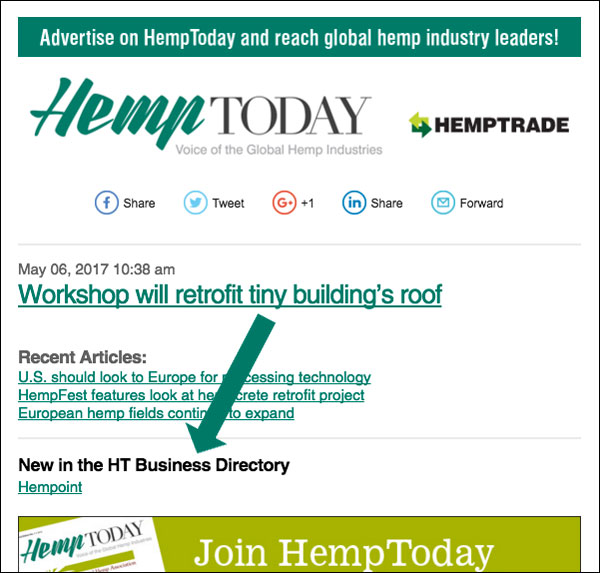 Directory listing notification in HempToday email newsletter