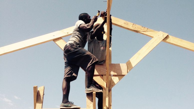 Haitian youth erect the frame for a hempcrete building project near Port au Prince
