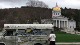 The Hemp Road Trip bus in Vermont.