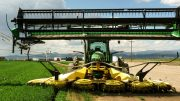 Cutters on the PowerZone harvester span 25 feet.