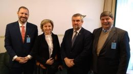 From left: American attorney Bob Hoban, International Hemp Solutions; IWNiRZ Director Malgorzata Zimniewska; Jan Krzysztof Ardanowski, Polish Minister of Agriculture and Rural Development; and Jaap Kras, International Hemp Solutions-EU.