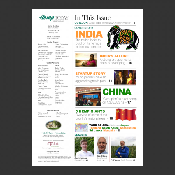Asian Hemp Summit 2019 Special Edition table of contents