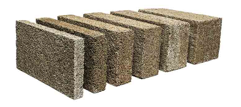 Pre-formed hempcrete blocks from IsoHemp, Belgium
