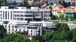 The Slovakian Parliament building in Bratislava.