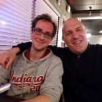 Daniel Kruse, HempConsult GmbH, with his driver, Tadeusz Reyher at dinner.
